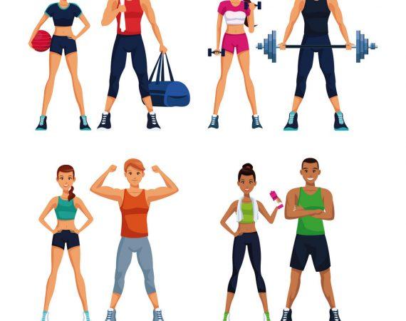 Set of fitness people