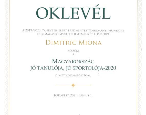 Dimitric Miona – Jó tanuló Jó sportoló